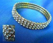 Diamante fashion bracelet 3 row stretch sparkle party jewellery