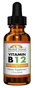 B12 Vitamin Liquid Drops - Fast Acting Complex - 2 fl oz Bottle - Free Shipping