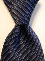 LANVIN Paris Men's 100% Silk Necktie FRANCE Designer Geometric Blue/Black EUC