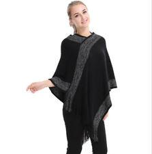 Ladies Poncho Stole Cape Shrug Wrap Shawl Jacket Jumper Sweater Shine Stripe New