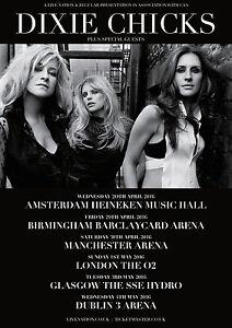 DIXIE CHICKS 2016 UNITED KINGDOM CONCERT TOUR POSTER- Country Pop,Americana,Folk