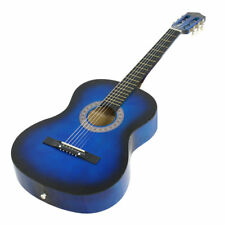 "Full size 38"" Blue Acoustic Beginner Guitar Package,Case,Strap,Pitch Pipe,Pick"