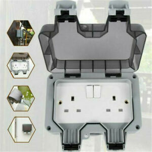 2 Gang 13A Waterproof Outdoor Storm Switched Socket Double IP66 Outside Use UK