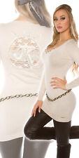 Maglione lungo donna ricamo pizzo macramè spalle scollo Y maglia aderente nuovo