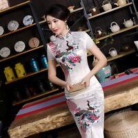New Luxurious White Satin Phoenix Chinese Long Dress Cheongsam Qipao lcdress52