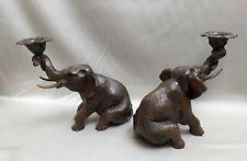 Paire d'éléphant en bronze sculpture animalière