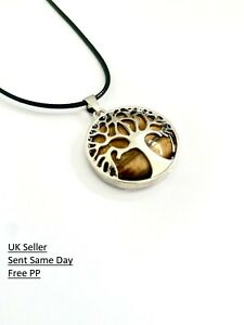 Tiger Eye Healing Tree of Life Silver Pendant Black Leather Cord Necklace Gift