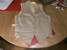 Vtg Buff Linen  Formal Waistcoat with Mother of Pearl Brass  Buttons Size 32""