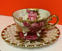 Vintage Royal Sealy Of Japan ROSES Gold Gilt 3 Ring Footed Tea Cup Saucer Set!
