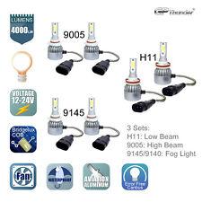 H11 9005 LED Headlight + 9145 Fog Light Bulbs for 2011-2017 RAM 1500 2500 3500