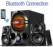 Stereo Bass System Home Audio Shelf Sound Speakers Radio Wireless 2.1 Bluetooth