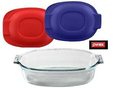 Pyrex 2.5-Qt OVAL Glass Bakeware ROASTER DISH Roasting PAN *w/Cover BLUE or RED