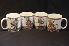 DEBBIE MUMM Sakura SET of 4 Sledding Characters Coffee Cups Mugs Christmas CUTE!