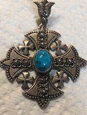 Jerusalem 900 Sterling Silver 23 Grams Turquoise Maltese Crusader Cross Pendant