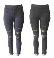 Women Ripped Fishnet Skinny Denim Frayed Hem Jeans Jeggings High Waist Pants