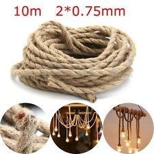10M 0.75x2mm Hemp Rope Wire DIY Braided Fabric Twin Twisted Cable For Bar & Shop