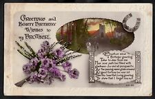 C1920s Birthday card for brother - Flowers and horse shoe 'filled with gladness'