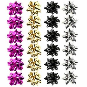 24 Small Luxury Gift Bows Self Adhesive Assorted Colours Christmas Birthday