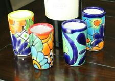 4 Piece Set Talavera 4Tequila Shot Glass Handmade Painted Beautiful