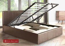 King Size Deluxe Bed Frame Leather Brown Storage Bedroom Modern Design Vintage