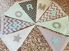PERSONALISED BUNTING- GREY, MINT AND WHITE MIX- ANY NAME - £1 PER FLAG, FREE P&P