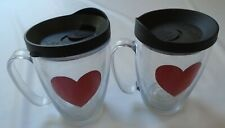 Set of 2 Tervis Heart Design Insulated Tumbler Mugs 16 oz w/Black Lids