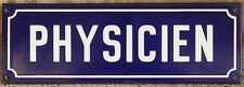 Old blue French enamel sign plaque physicien physicist office laboratory factory