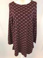 J.Jill Womens Purple/Black Geometric Long Sleeve Ponte Tunic Sweater Sz L
