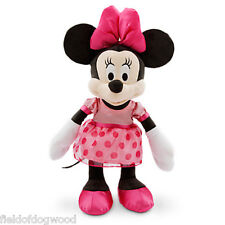 NWT Disney Store Minnie Mouse Clubhouse Plush Pink Polka Dots Stuff Animal 17""