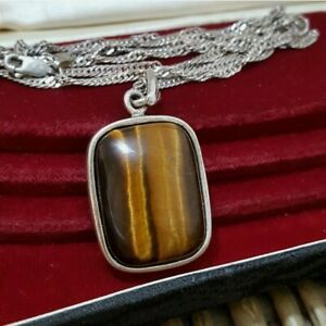 """Natural Tiger's Eye Gemstone Sterling Silver Necklace, 26"""" Chain,  Milor 925 Qvc"""