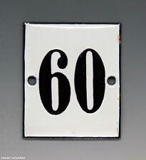 KLEINE...! ALTE EMAIL EMAILLE NUMMER 60 aus HOTEL ? um 1950...6 x 5 cm !!