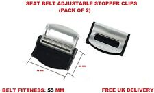 SILVER PEUGEOT SEAT ADJUSTABLE SAFETY BELT STOPPER CLIP CAR TRAVEL 2PCS