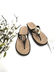 Crocs Women's Sanrah Hammered Met Wedge Flip Sandal, Espresso/Gold 11W  US