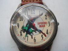 Fossil spider-man men's brown leather band.quartz,battery & Analog watch.Li-1037