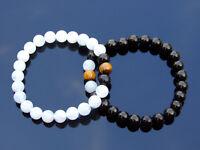 Couple Moonstone/Jet/Tiger Natural Gemstone Bracelet 6-9'' Elasticated Healing