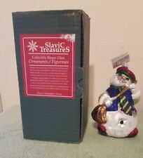 Slavic Treasures Blown Glass Snowman Christmas Ornament White Whistler W/Box