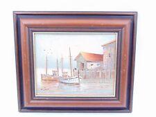 Óleo sobre lienzo Enmarcado-W Jones-Puerto barcos de escena - - Vela Del Mar Océano