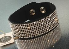 Swarovski Element Slake Bracelet Crystal Black Alcantara Leather Wide Bling Cuff