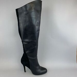 Faith Black Leather Suede Over The Knee OTK Zip Up Sexy Booties Boots 40 UK7
