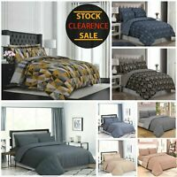 100% Cotton Duvet Cover Bedding Set With 2 Pillow Case 3 Piece Quilted Covers UK