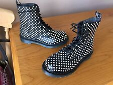 Dr Martens 1460 pascal white dot black flock boots UK 4 EU 37