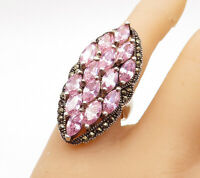 925 Sterling Silver - Vintage Pink Topaz Cluster Cocktail Ring Sz 7 - R14721