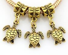 30pcs Antique Gold Tone Turtle Dangle Charms Fit Bracelet J127