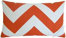 Orange / White Chevron ZigZag Decorative Throw Pillow Cover/Cushion Cover 12x20""