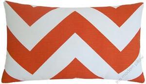 "Orange / White Chevron ZigZag Decorative Throw Pillow Cover/Cushion Cover 12x20"""