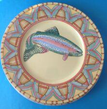 SPLASH Siddhia Hutchinson Trout Fishing Dinner Plate Lodge Beach Cottage Yellow