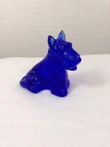 Duke Scottie Scottish Terrier Dog Cobalt Blue Glass