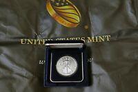 2019 American 1 oz Silver Eagle Coin 999 Fine Silver BU In Capsule & US Mint Box