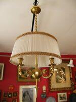 Lustre Style Restauration 3 Feux en Bronze Lucien Gau Têtes de Bouffons Jokers