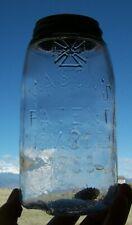 VINTAGE CRUDE POUR QT MASON'S PATENT NOV 30TH 1858 W/ LETTERED CROSS FRUIT JAR